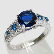 LUXURIOUS 2 CT ROUND CUT TANZANITE 925 STERLING SILVER RING SIZE 5-10