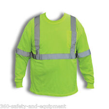5 Pack Hi-Vis Green Long Sleeve T-Shirts Hi-Vis Safety Green M-5XL Reflective