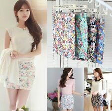 New Women Ladies Tight Flower Dot Floral Chiffon Pleated Cute Mini Skirt Dress