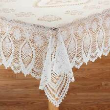 NEW ~ Vinyl Crocheted Lace Oval/Oblong Table Cover Cloth Flannel Backed