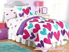 Teen Girls PiNK TEAL HEARTS Twin OR Full Size 100% COTTON Comforter Set+PILLOWS