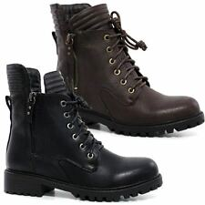 Womens Combat Style Army Worker Military Ankle Boots Chunky Punk Goth Shoes Size