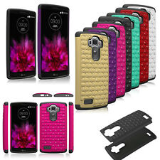 Rugged Hybrid Heavy Duty Dual Layer Bling Diamond Hard Rubber Case Cover  LG G4