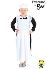 GIRLS KIDS CHILDRENS CHILDS VICTORIAN DOWNTON HOUSE MAID COSTUME AGE 5-7-9-11