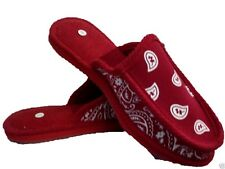 RED BANDANA HOUSE SHOES SLIPPERS TROOPER OPEN HEEL BACK SIZE 8  9 10 11 12 13