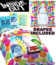 New DISNEY PIXAR INSIDE OUT Twin or Full Size DOTS Comforter & Sheet Set+DRAPES