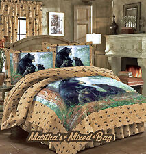 BEAR CUB Bedding Hunting Lodge Cabin Wild Life Comforter & SHAM Set+Floor Pillow