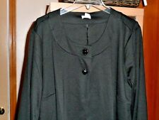 NWT  BLACK 2 BUTTON OPEN FRONT JACKET CARDIGAN 3/4 SLEEVE PLUS 2X & 3X