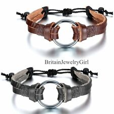 Double Layer Leather Bracelet  Circle Men Women Adjustable Tribal Cuff Wristband