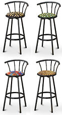 "FC44 BLACK FINISH METAL 29"" TALL SWIVEL BACKREST SEAT CUSHION KITCHEN BARSTOOLS"