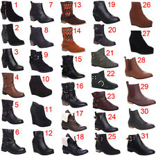 Womens Ladies Flat Low Heel Leather Look Pull Up Zip Up Ankle Boots Shoes Size