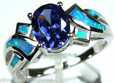 Tanzanite & Blue Fire Opal Inlay 925 Sterling Silver Engagement Ring Sz 6-10