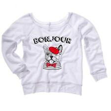 Bonjour With French Bulldog Sketch Womens Sweater Frenchie Dogs Soft Comfy Top