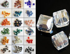 10pcs 8mm Crystal Charm Finding Faceted Square Cube Cut Glass Loose Spacer Beads