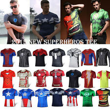 MARVEL Superhero Althletic T Shirts Cycling Sports Jerseys Exercise Gym Tee Tops