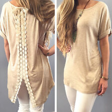 Fashion Women Summer Vest Short Sleeve Blouse Casual Tank Tops T-Shirt Lace NEW