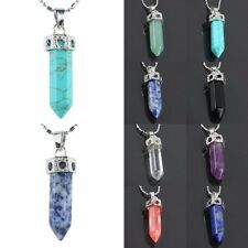 Black Blue Purple Green Gemstone Quartz Healing Point 18KGP Pendant Fit Necklace