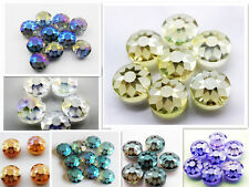 5pcs DIY Home 7 Colors Faceted Sunflower Pattern Round Glass Crystal Beads 14mm
