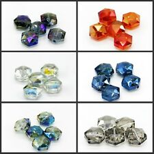 5pcs DIY New Home Faceted polygon Hexagon Glass Crystal Loose Spacer Beads 15mm