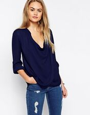 ASOS Navy Top With Detail Front And Drape Neck