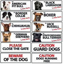 Dog Breed and Text Landscape Plastic Signs