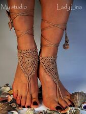 Barefoot Sandals, Wedding Foot jewelry, 100% Cotton, HANDKNIT from Europe