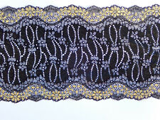 """*The Place For Lace*  Fabulous Black and Gold Wide Stretch Lace Trim 6.5""""/17cm"""