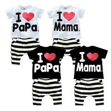 Kids Outfits Set I Love Papa/Mama Baby Boy Girl Clothes Size 0 1 2 3 4 FT1666
