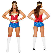 Wonder Woman Cosplay Costume Superhero Fancy Dress Halloween Party Outfit