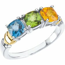 Silver & 14K Gold Heart Gold Birthstones Ring 1 to 4 Antique Square Checkerboard