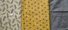 JoAnn MBT Bees Or Alligators On Yellow OR Green With Flowers Embroidered Flannel