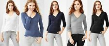 GAP Womens Supersoft V-neck Tee T- Shirts Top Long Sleeve  XS,S,M,L,XL NEW NWT