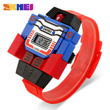 SKMEI Transformative Robot Date Digital Quartz Kids Girl Boys Watch Student Gift
