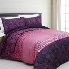 Galy Purple Pink Silver Navy Quilt Doona Cover Set - SINGLE DOUBLE QUEEN KING