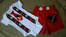 Baby Boy Mickey Mouse Birthday Outft Onesie & Shorts personalized 12M, 18M, 24M