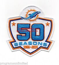 """MIAMI DOLPHINS """"50 SEASONS"""" PATCH AWAY EMBROIDERED JERSEY EMBLEM TEAM PATCH"""