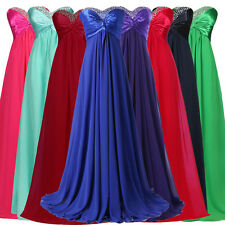 UK CHEAP Long Chiffon Strapless Women Bridesmaid Evening Party Gown Dress PLUS