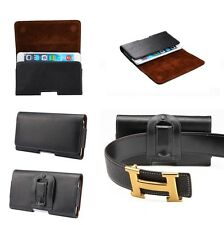 Genuine Leather Case Cell Phone Belt Clip Loop Waist Pouch Holster Horizontal