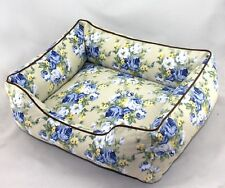 High Quality Pet Dog Cat European Style Sofa Bed House Pet Kennel Blue Flowers