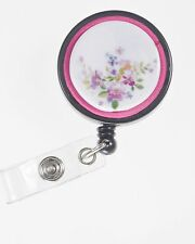 Mauve Flower Badge Reel - Handmade ID Badge Holder