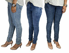 NEW LADIES WOMENS SKINNY FADED STRETCHY JEANS LIGHT BLUE INDIGO SIZE 8-18