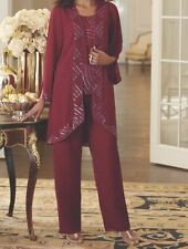 Women's Mother of Bride Groom Wedding party 3PC duster pant set suit plus XL 1X