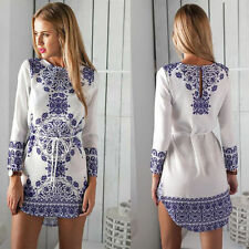 Sexy New Summer Women Long Sleeve Party Dress Evening Cocktail Casual Mini Dress