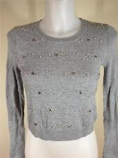 FAMOUS CATALOG COTTON LIGHTWEIGHT CROPPED EMBELLISHED SWEATER GREY SZ XS,S,M,XL