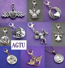 U PICK CHARM Clip On Silver Guardian Angel Wing Love Heart Cherub Bon Arrow