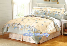 Coastal SEASHELL Starfish Ivory Blue 4pc COMFORTER SET King~Queen Size Tropical