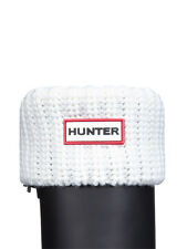 HUNTER HALF CARDIGAN STITCH BOOT SOCKS  WHITE