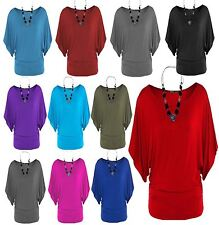 New Womens Plus Size 3/4 Batwing Sleeve Waist Band Slouch Tops 4-22