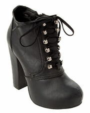 WOMENS BLACK LACE UP PLATFORM BLOCK HIGH HEEL ANKLE BOOTS LADIES UK SIZE 3-8