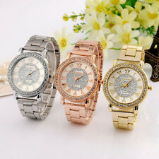 Women Men Stainless Steel Quartz Wrist Watch Unisex Crystal Diamond Watches New